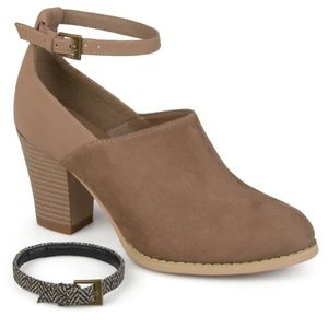 Taupe Ankle Strap Booties from Journee Collection